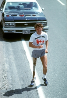 terry fox running inthe marathon of hope (www.cbc.com)